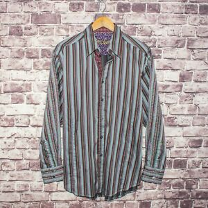 Robert-Graham-Men-039-s-Button-Front-Shirt-Striped-w-Embroidered-Sleeves-Size-Large