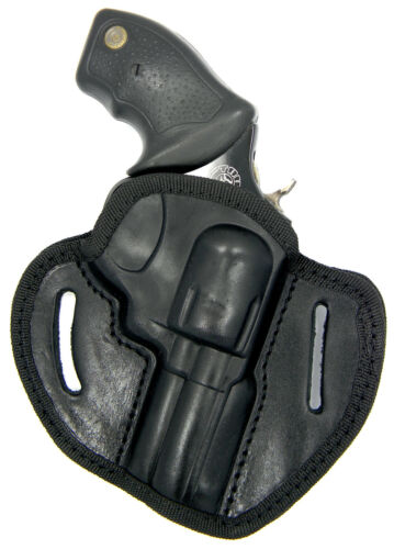 """SEMI-MOLDED BLACK LEATHER BELT OWB HOLSTER for S/&W M/&P360 38 SPECIAL 3/"""" REVOLVER"""