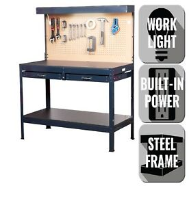 Sensational Details About Black Steel Workbench With Built In Power And Lighting 4 Ft W X 5 Ft X 2 Ft Andrewgaddart Wooden Chair Designs For Living Room Andrewgaddartcom