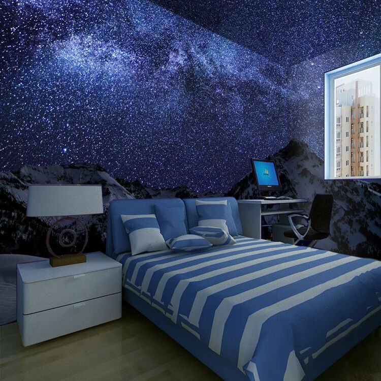 3D Snow Mountain Starry Sky Paper Wall Print Wall Decal Wall Deco Indoor Murals