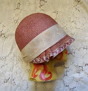 SALE! Vintage Authentic 1920's Rose Straw Cloche' Hat with Art Deco Trim * Small