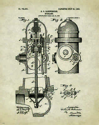 Fire Hydrant Patent Poster Art Print Fireman Antique Firefighting Badge   PAT225