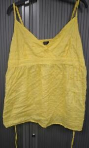 Yellow-Embroidered-Camisole-Top-with-ties-100-Cotton-Size-18