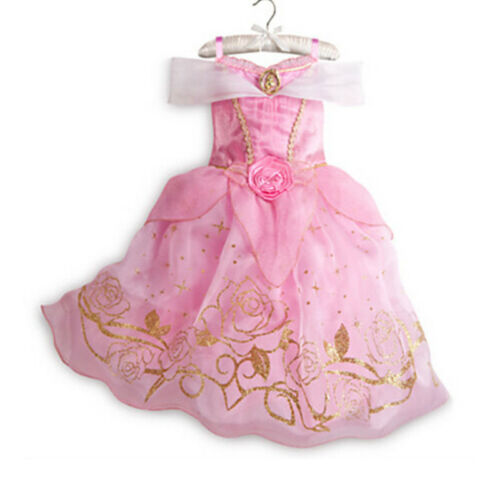 Girls Princess Dress Up Costume Fairytale Belle Cinderella Aurora Rapunzel UK