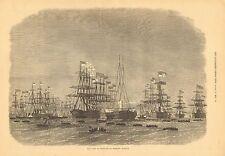 Royal Navy, Fleet Of Ironclads At Portland Harbour, Vintage 1872 Antique Print