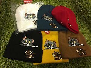 f1ef786671d Supreme 2016 F W Tom and Jerry Beanie Box Logo Red White Black ...
