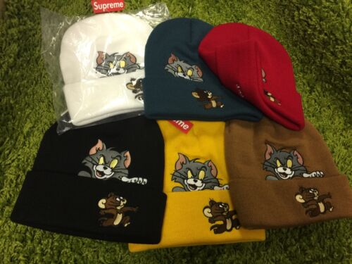 Supreme 2016 F//W Tom and Jerry Beanie Box Logo Red White Black Yellow Teal Brown