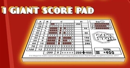 100 sheets Can/'t Stop Express Score Pad