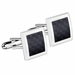 Men-039-s-Black-amp-Silver-Stainless-Steel-Square-Wedding-Shirt-Cuff-Links-Cufflinks