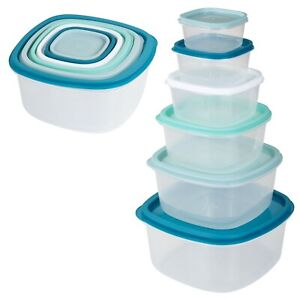 12-PCS-Set-of-Practical-Food-Storage-Unit-Container-Boxes-with-Lids-Kitchen-NEW