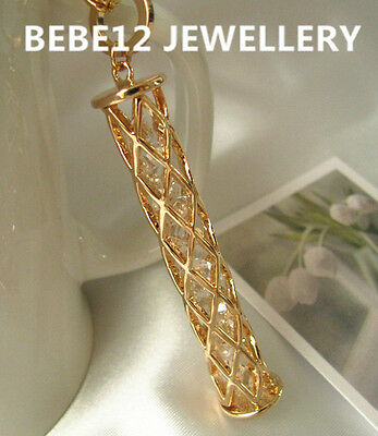 18K/Austria Crystal/RGP/Cylinder Pendant Necklace/88CM Long Chain/RGN427