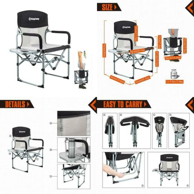 Sensational Kingcamp Heavy Duty Compact Camping Folding Mesh Chair With Side Table And Handl Alphanode Cool Chair Designs And Ideas Alphanodeonline