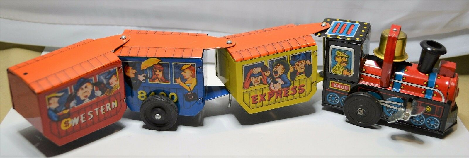 Tren De Juguete Vintage Década de 1950 Western Express Estaño Wind-up juguetes caja original del ferroCocheril