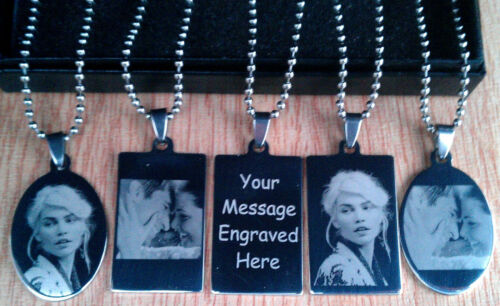 Personalised Photo//Text Engraved Charm//Pendant Necklace Army Dog Tags Jewellery