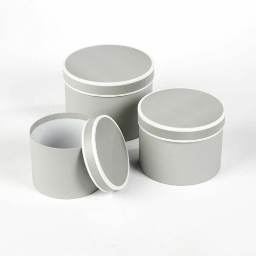 Courtue Floristry Lined Hat Boxes Sets Of 3 Round And Square Choice Of 3 Colours