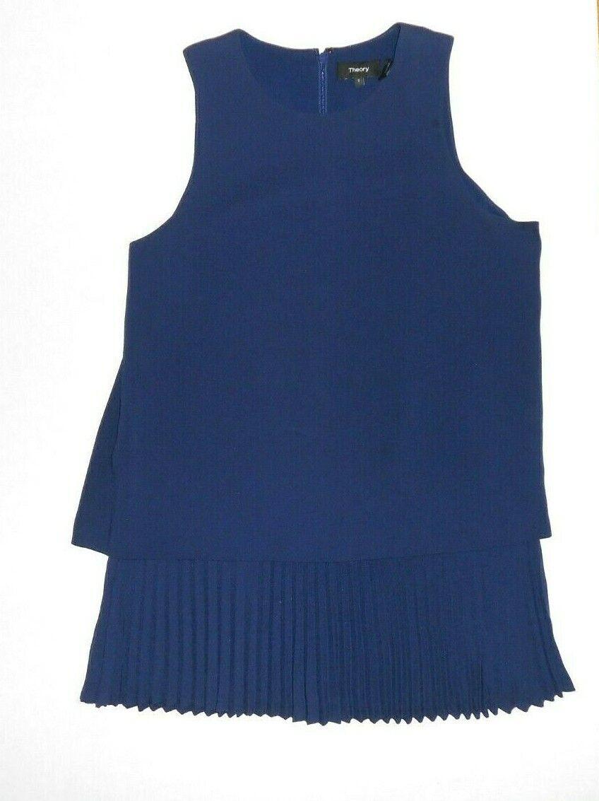 THEORY Größe Small Blau Pleated Hem Tank Top Navy Blau Career Wear
