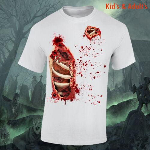 Halloween costumes Kids Adults Blood splsah ScaryTop Tshirt Zombie Walking Dead