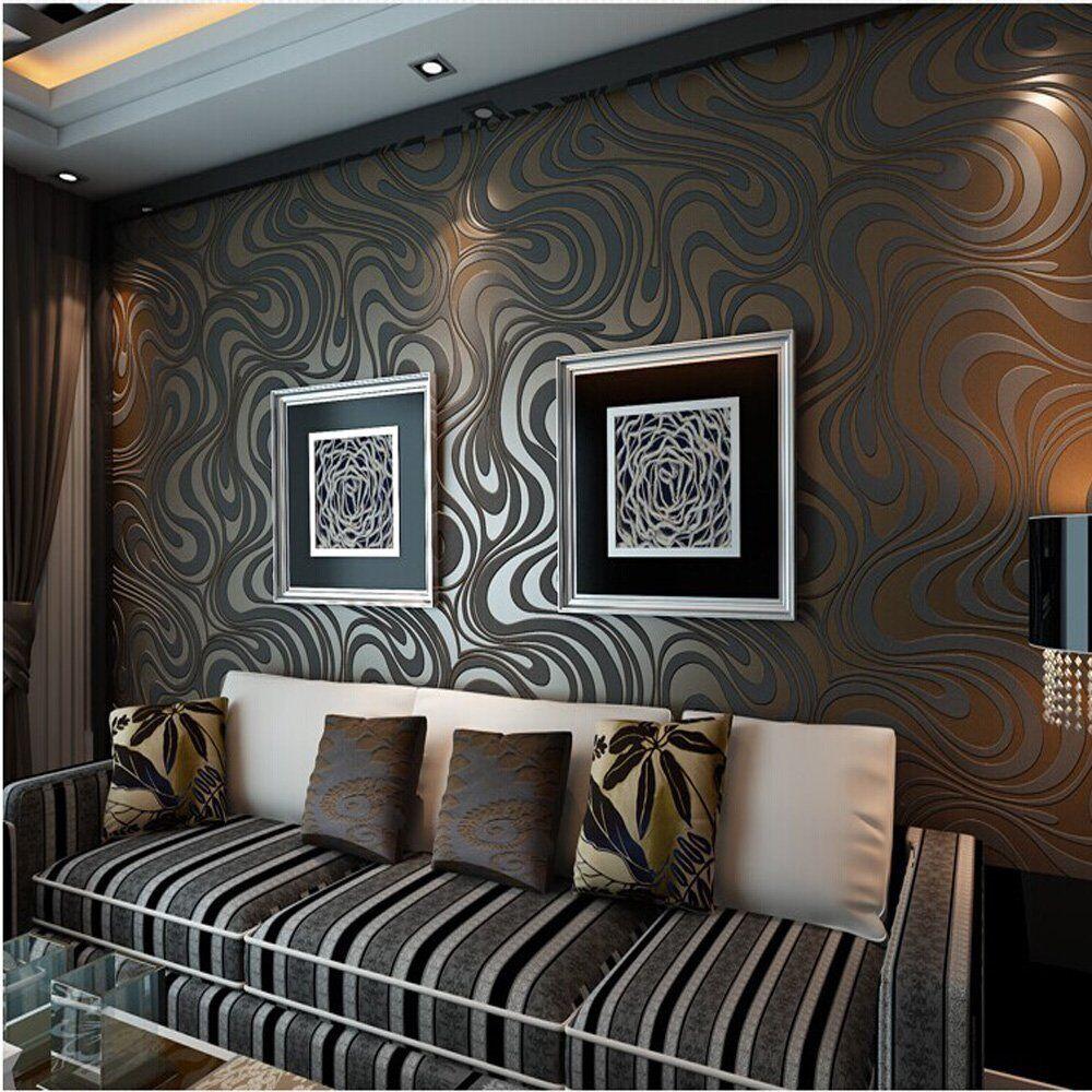 Qihang Modern Luxury Abstract Curve 3d Wallpaper Roll Mural Papel