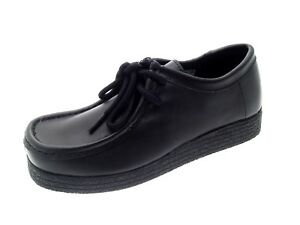 Girls Black Leather School Shoes Womens Lace Up Work Loafers ... 96b0127cb