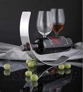 Image Is Loading Curved Metal Wine Bottle Holder Floating Contempory Art