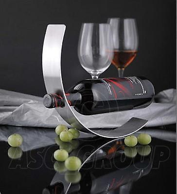 Apprensivo Curva In Metallo Bottiglia Di Vino Titolare Galleggianti Contempory Art Rocking Bottigliera Nuovo-