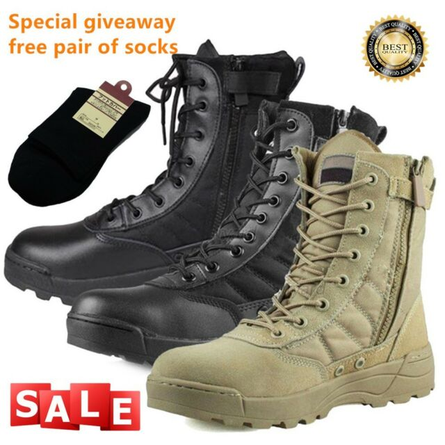 Mens BLACK LEATHER   Safety Combat Boot Police Army Military Boots size 6 to 14