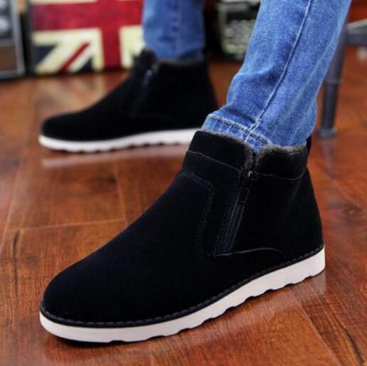 Men Suede Snow Boots Formal Velvet Warm Zip Flat Round Toe Casual Solid Vogue