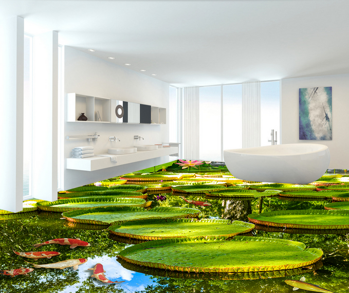 3D Fresh Lotus River 783 Floor WallPaper Murals Wall Print Decal 5D AU Lemon