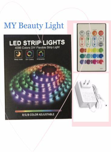 LED Strip Lights Ribbon R//G//B color Adjustable Remote Control 16.4ft AC100-240V