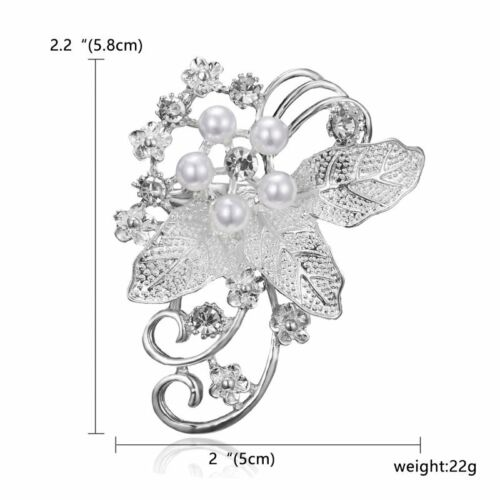 Silver Pearl Crystal Rhinestone Flowers Brooch Pin Wedding Bridal Women Jewelry