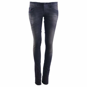 Diesel Grupee ne 0835b Damen Denim Jeans Sweat Jogg Stretch Slim Skinny schwarz