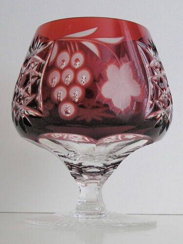 Ajka Marsala Ruby Red Cut to Clear Crystal Brandy Glass Snifter  New