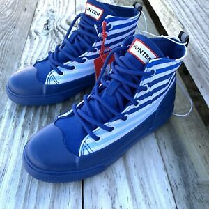 Hunter-for-Target-Kids-Unisex-Dipped-Canvas-High-Top-Sneakers-Blue-Stripe-Sz-3