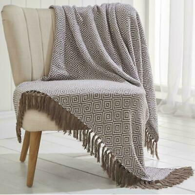 5 Sizes LARGE 100/% Cotton Woven Sofa Bed Throw Blanket Ascot