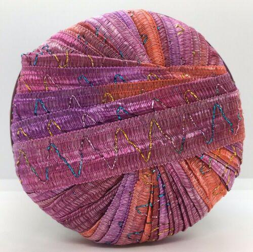 Lilac Coral Red w// Glitter 50g Tinkerbella Berlini Wide Ribbon Yarn #15 Kisses