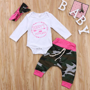 661bdcca57775 AU Newborn Baby Girls Tops Romper Camo Leggings Pants 3pcs Outfit ...