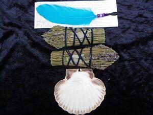 2 esprit SAGE Lavande Nettoyage Smudge stick Kit & Feather Wand & SHELL-afficher le titre d`origine XFwN1hSx-07184411-175529404