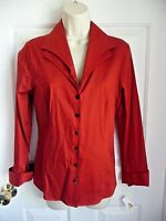 Talbots 10 Blouse Shirt Red Cotton Stretch Double Collar Office Or Play Nice