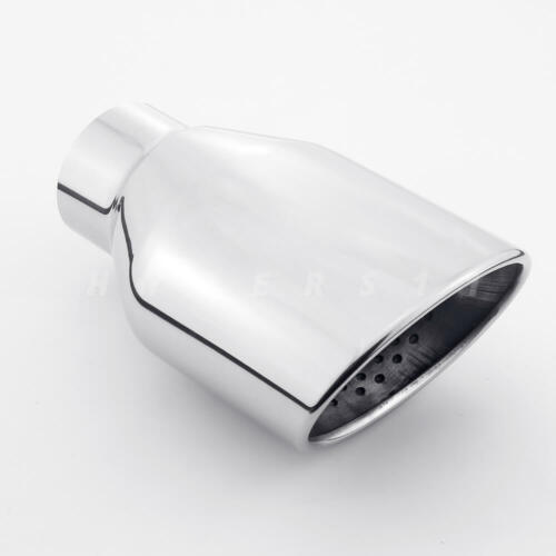 """4.72/""""x3.15/"""" Oval Resonated Exhaust Tip 2.25/"""" In 7/"""" Long Polished Stainless Steel"""