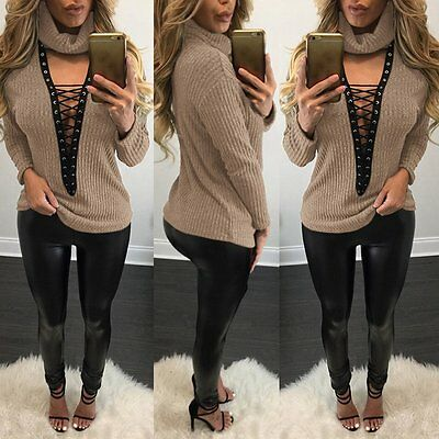 Women Sexy Turtleneck Lace Up Knitted Sweater Casual V Neck Pullover Jumper Tops