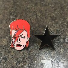 DAVID BOWIE BLACK STAR & ALADDIN SANE ENAMEL PIN BADGE SET | STARDUST