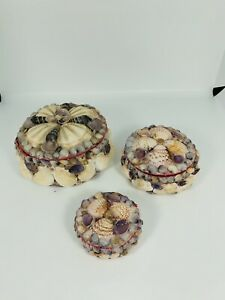 Vintage-Antique-Victorian-Seashell-Encrusted-Nesting-Jewelry-Boxes