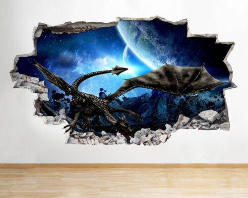 J821 Black Dragon Cool Boys World Smashed Wall Decal 3D Art Stickers Vinyl Room