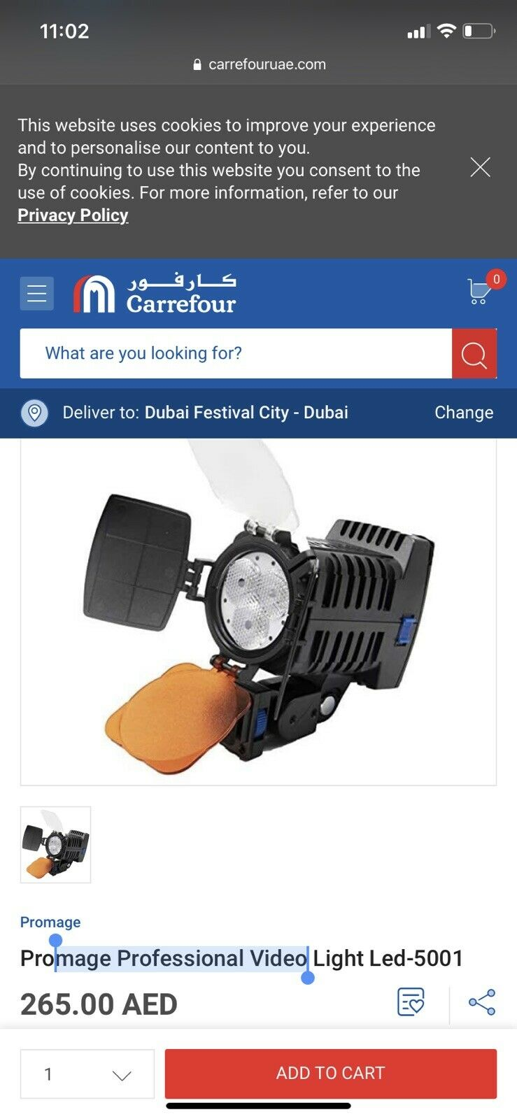 PROMAGE Professional LED Battery Video Camera Light 5001