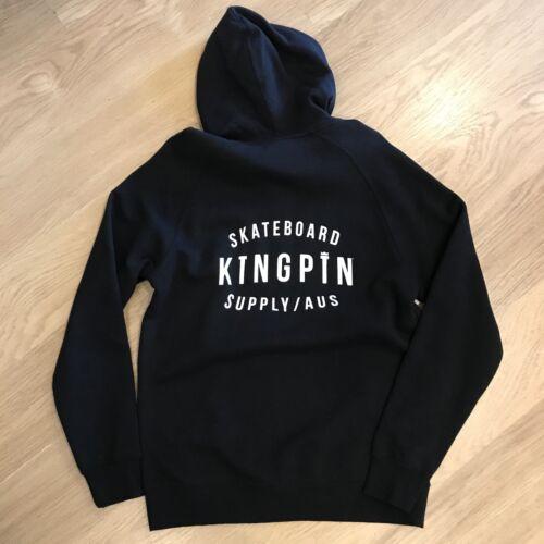 Details about  /KINGPIN SKATE SUPPLY HOOD JUMPER ZIP FRONT BLACK ORIGINAL PRINT PULLOVER