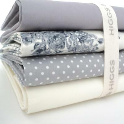 4 X FQ BUNDLE -  GRACIOUS in GREY  FLORALS 100% COTTON FABRIC patchwork craft