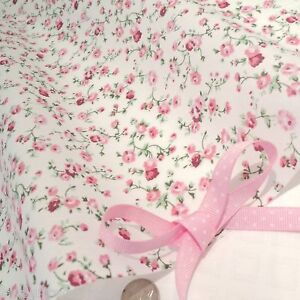 molly creme pink baumwolle stoff blumenmuster schick ebay. Black Bedroom Furniture Sets. Home Design Ideas