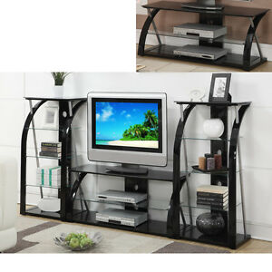Superieur Image Is Loading Black Glass Metal Dynamic TV Stand Entertainment Center