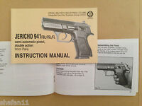 Baby-eagle Jericho Polymer Frame 9mm Original Imi Manual Operating Maintenance