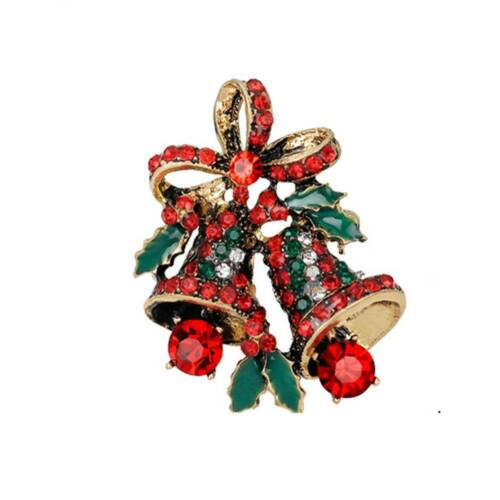 1pc Cristal Strass Cloche De Noël Broche Bow Noeud Broche Pins Bijoux Cadeau